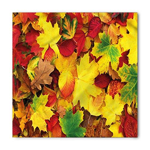 Lunarable Unisex Bandana, Yellow and Brown Autumn Leaves Fall, Fern Green