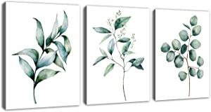 "Green Leaf Wall Art Canvas Pictures Bathroom Wall Decor Modern Botanical Watercolor Painting Eucalyptus Leaves Bedroom Decoration Contemporary Bohemian Artwork Framed Ready to Hang 12"" x 16"" 3 Pieces"