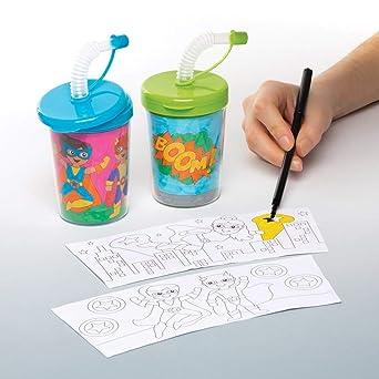 Baker Ross- Vasos con pajita flexible de superhéroes para colorear ...