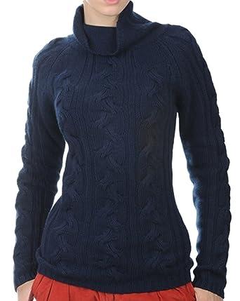 Balldiri 100% Cashmere Damen Pullover Rollkragen Zopfmuster 12 fädig  Nachtblau S 3411424dc6