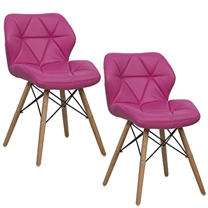 Amazon.com - Giantex Set of 2 Dining Chairs PU Leather Armless Wood ...
