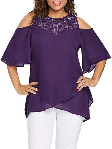AIFGR Tops para Mujer Damas O-Cuello Blusa de Hombro frío ...