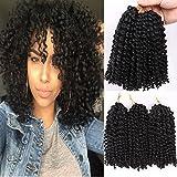 ALIBALLY Mali Bob 1B Color 6pcs 8Inch Synthetic Marlybob Crochet Braids Hair Marly Braids Jumbo Braids Hair Extensions (1b)