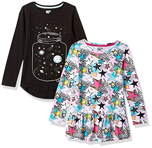 Spotted Zebra Little Girls' 2-Pack Long-Sleeve Tunic Tops, Multi-Stars/Black, X-Small (4-5)