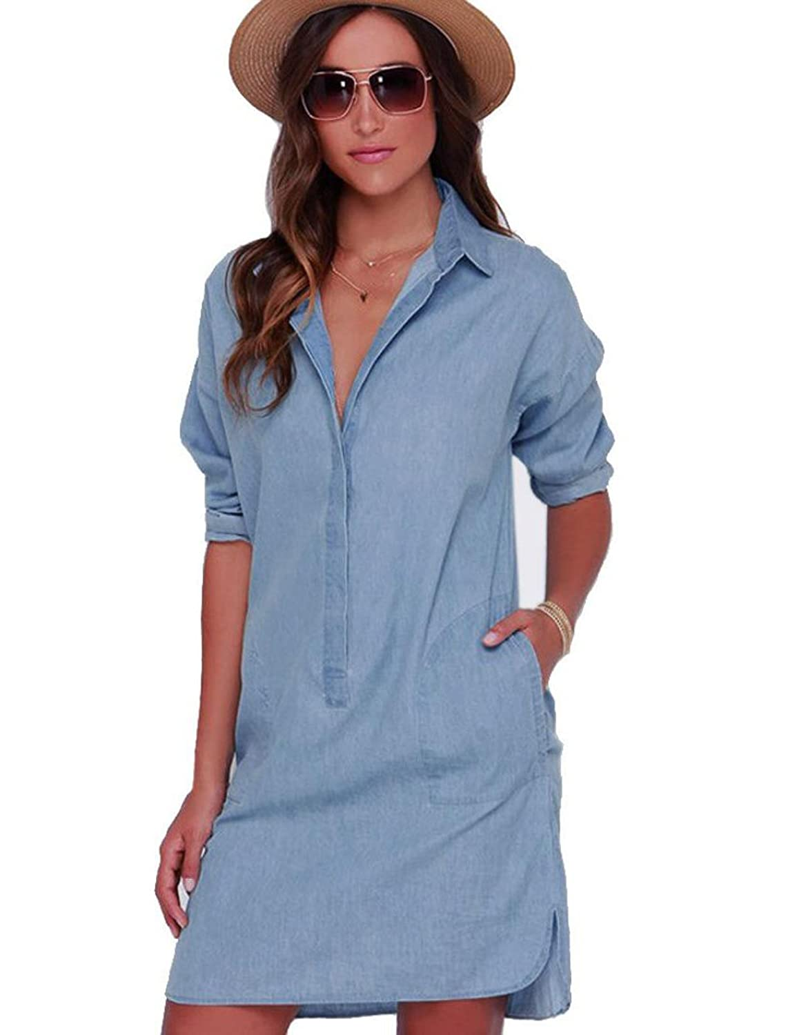 OVERMAL Women&-39-s Fashion Roll Sleeve Button Closure Jeans Dress at ...