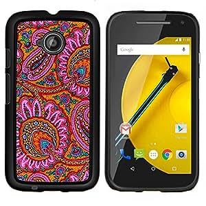 YiPhone /// Prima de resorte delgada de la cubierta del caso de Shell Armor - Patrón Alfombra india rosa florece - Motorola Moto E2 E2nd Gen