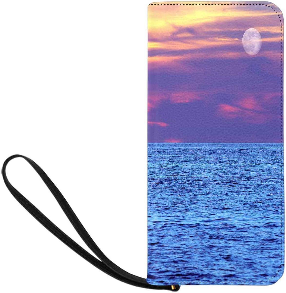Sea Sunset Sailboat Womens RFID Blocking Zip Around Wallet Genuine Leather Clutch Long Card Holder Organizer Wallets Large Travel Purse