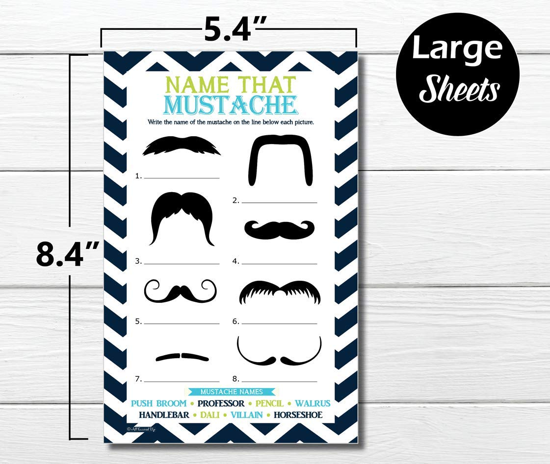 50-sheets Baby Shower Game 50 Name That Mustache Game