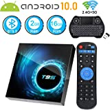 Android TV Box 10.0, Android Box 2GB Ram 16GB ROM Quad Core 64 Bits T95 Media Player Dual WiFi 2.4G/5G Bluetooth 5.0 6K/4K/3D/ H.265 Smart TV Box with Mini Backlit Wireless Keyboard