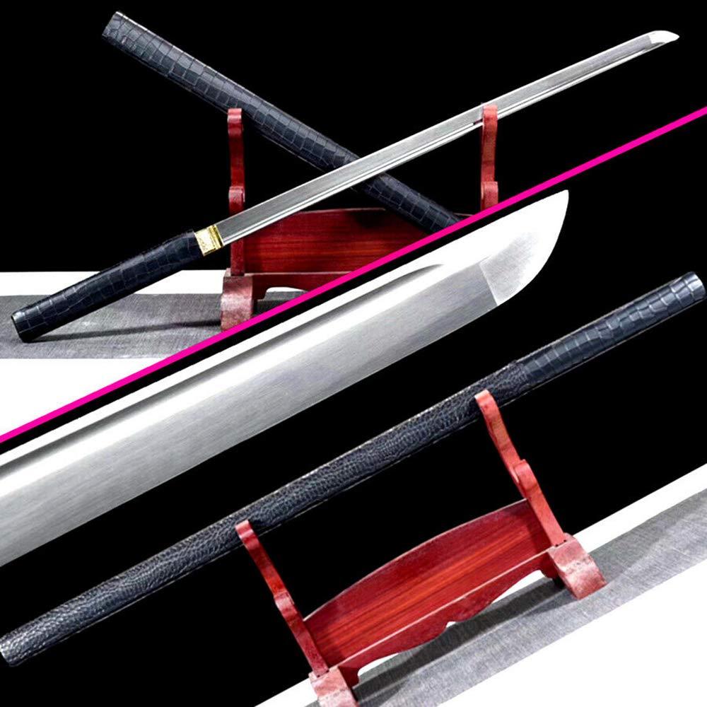 Leather Saya Japanese Samurai Straight Knife Saber High Carbon Steel Blade Sharp Ninja Dao Sword Katana by Generic