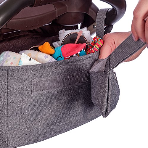 Baby Stroller Organizer by BabyBubz - Premium New Sleek Design - Durable Cup Holders - Universal Fit - tons of Storage for Phones, Keys, Diapers, Baby Toys, Snacks, Accessories - Best Shower Gift by BabyBubz (Image #6)
