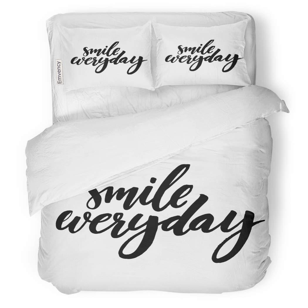 SanChic Duvet Cover Set Smile Everyday Black Saying on Brush Lettering Positive Decorative Bedding Set with 2 Pillow Shams King Size