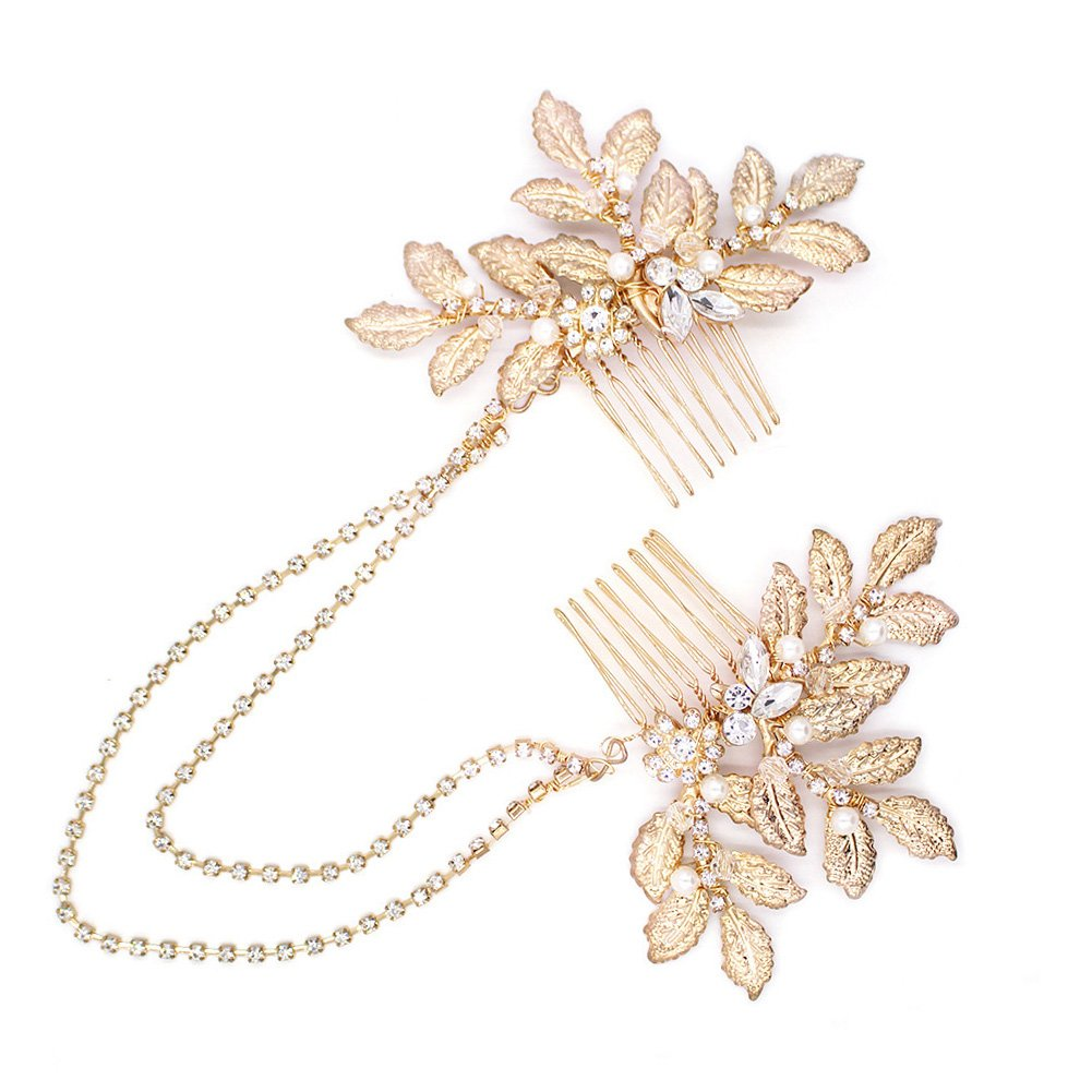 Vintage Gold Leaf Hair Comb Bridal Hair Accessories, Greek Style Headpiece with Pearl and Rhinestone