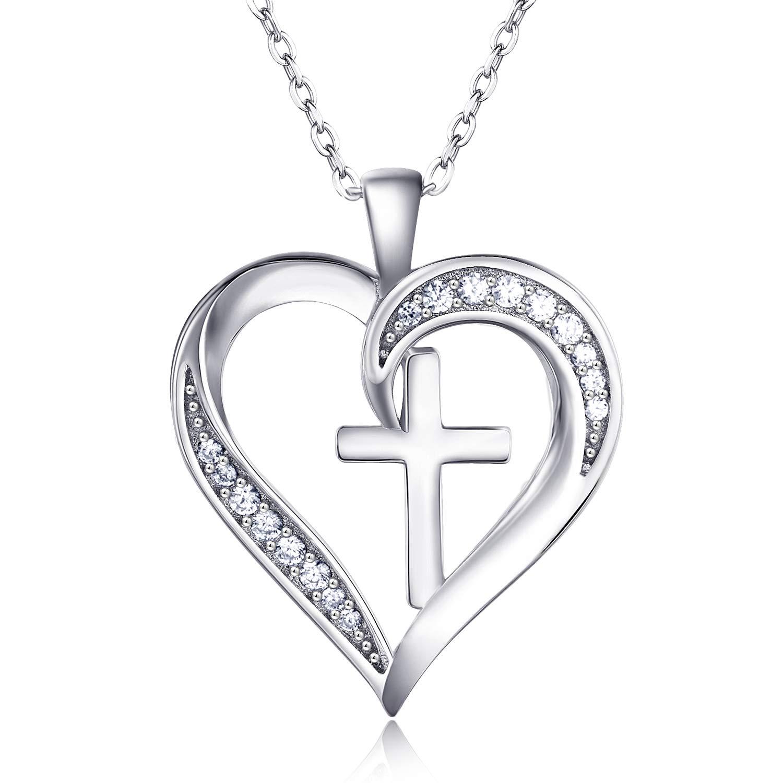 Van Chloe Women 925 Sterling Silver Heat Necklace Cubic Zirconia Diamond Pendant White Gold Plated Jewelry Gift for Women Girls 17.7''+1.77''