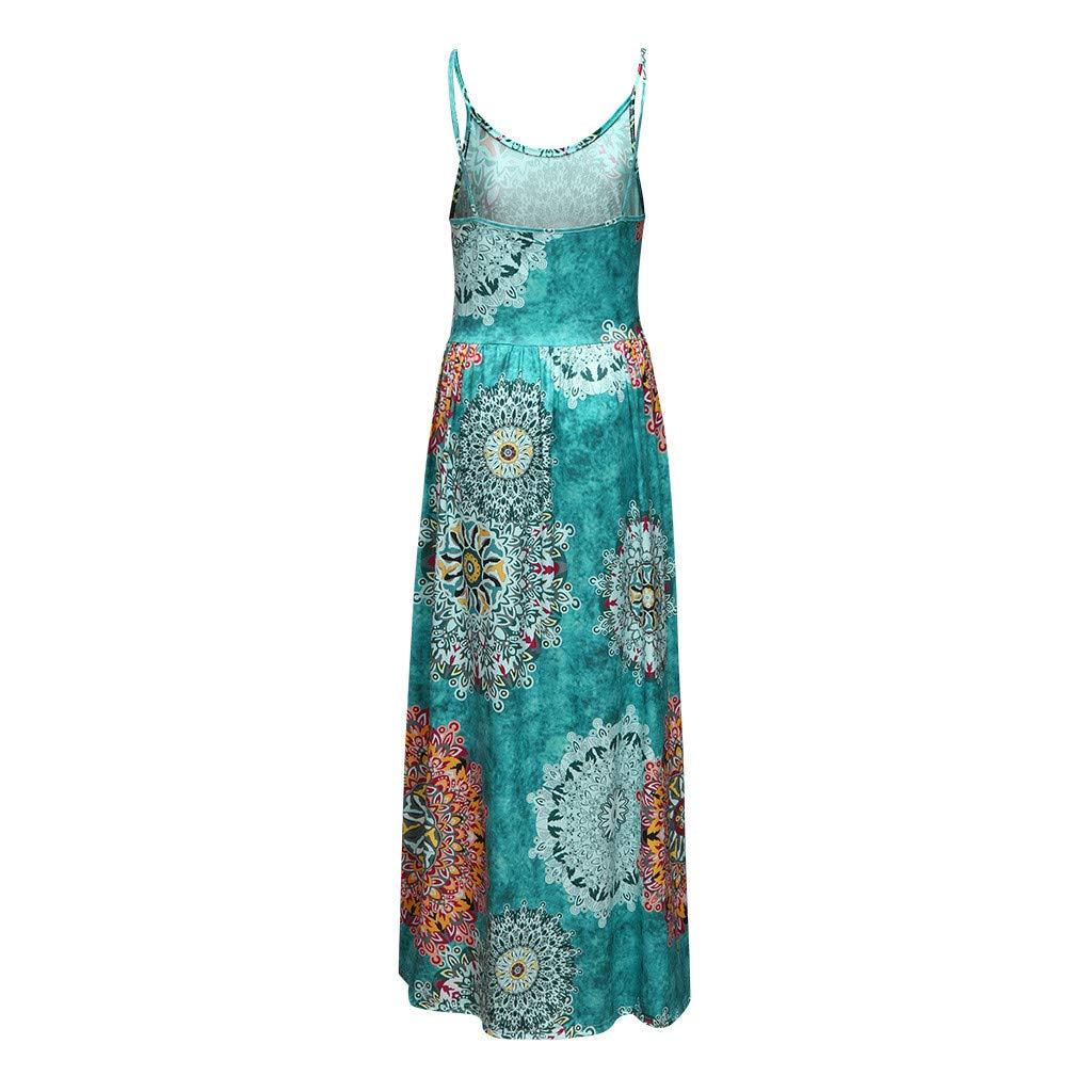 AIEson Ladies Sleeveless Suspender Flower Printed Dress Womens Bohemia Sleeveless Long Dress Sundress with Belt Pocket
