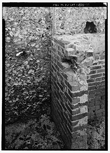 Vintography 8 x 12 Photo Slave Quarters E15, Detail View Clay Brick Fireplace Tabby Wall - Kingsley Plantation, 11676 Palmetto Avenue, Jacksonville, Duval County, FL 1856 88a by Vintography