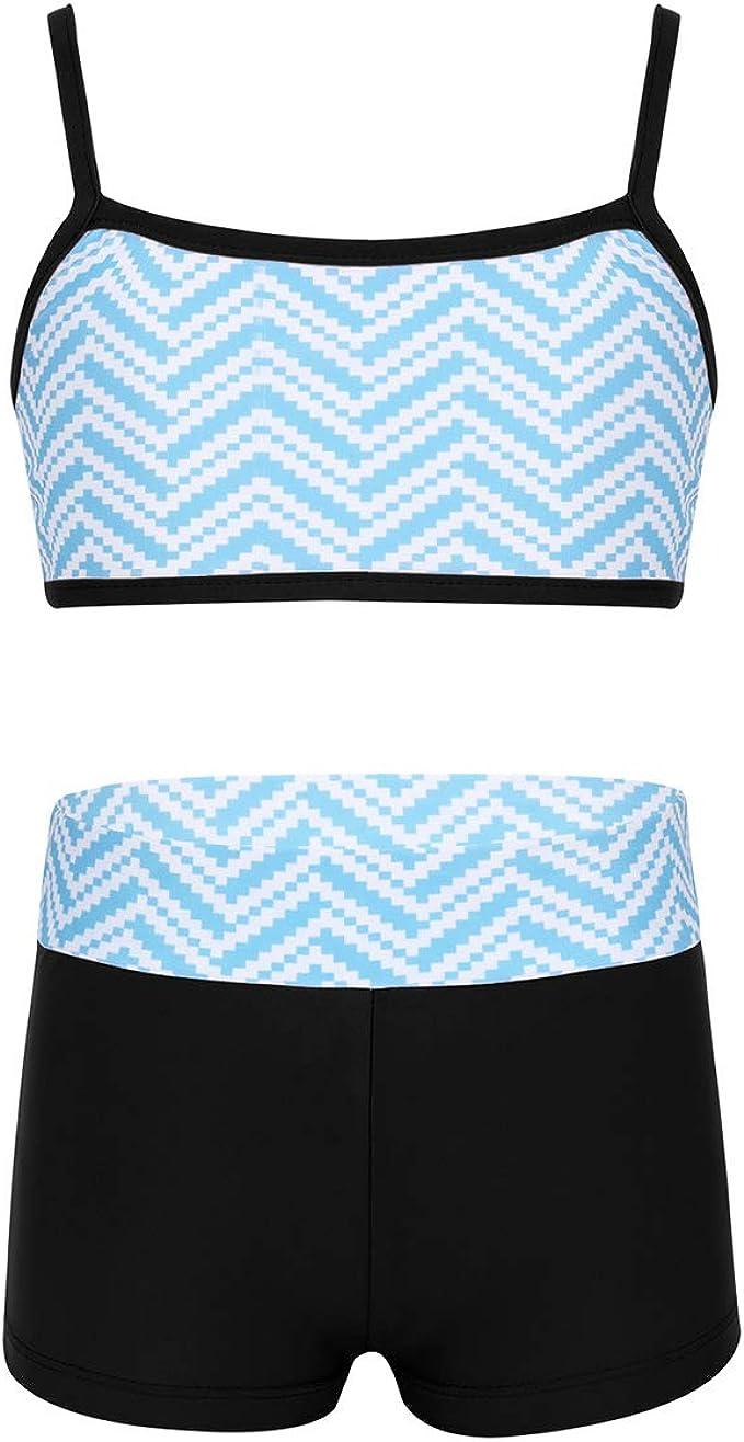 Girls Sports Crop Top Bottoms Gymnastics Leotard  Dance Run Workout Outfit 2PCS