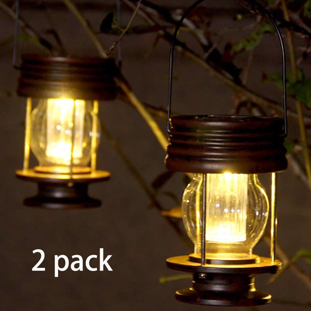 """pearlstar Hanging Solar Lights Outdoor 5.5"""" Retro LED Garden Solar Lanterns with Handle for Pathway Yard Patio Decoration, Waterproof Table Lamp,2 Pack (Warm Lights)"""