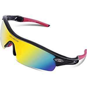 a0f1d730fa RIVBOS 805 TR 90 Frame Polarized Sports Sunglasses Sun Glasses with 5 Set  Interchangeable Lenses for