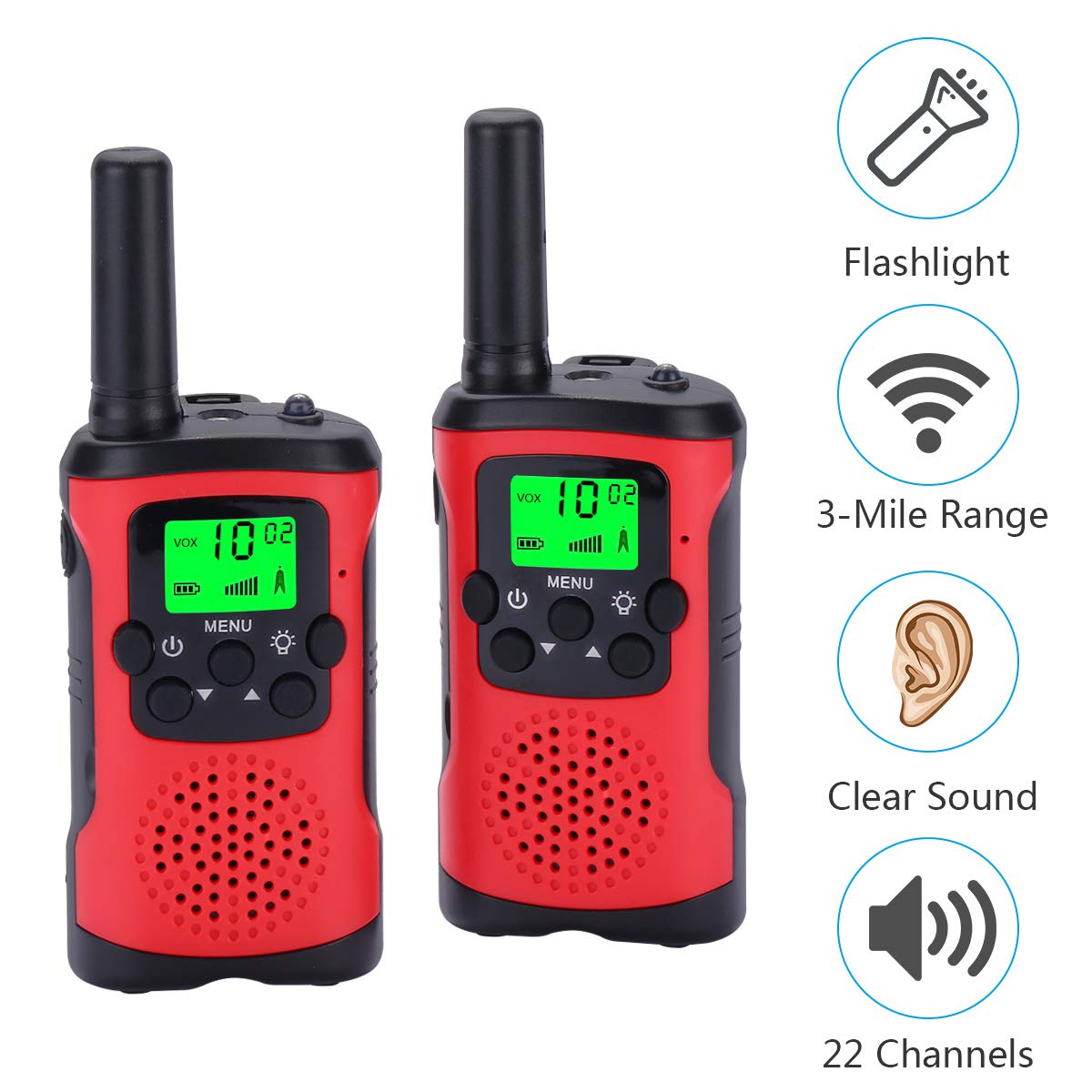 Acehome Children Walkie Talkies Toy Set, 2pcs 3Miles 22 Channel Handheld Two Way Radios Interphone Toy for Boys Girls Indoor Outdoor Game