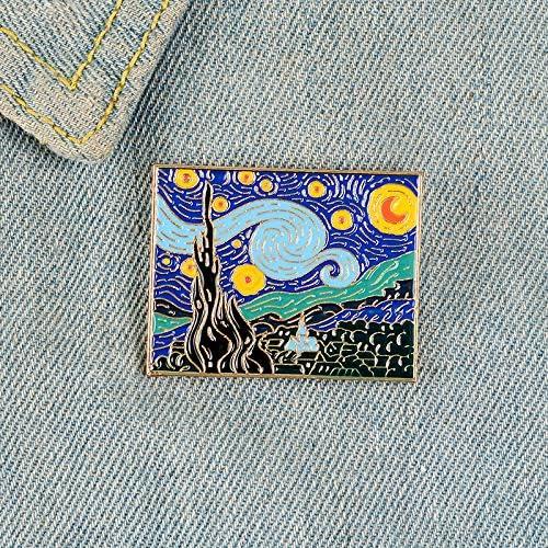 油絵エナメルピン美しい夜バッジブローチデニム服バックパック抽象アート友人のため