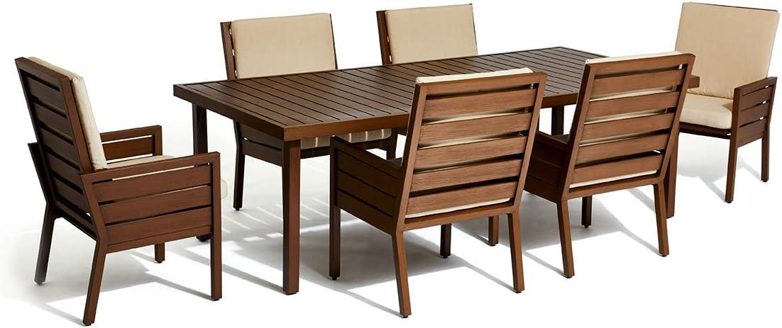 Amazon Com Stori Modern Script Outdoor 7 Piece Outdoor Dining Set Garden Outdoor