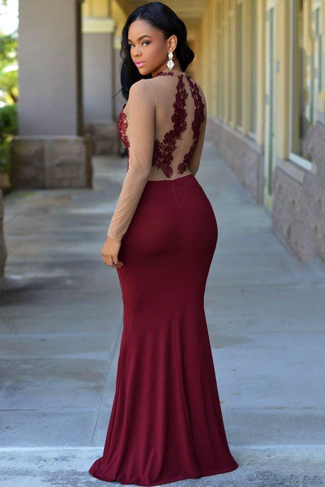 Secret Boutique Online Ltd Vestido Largo de Noche para Mujer, Color Rojo, con Malla de Nude, para cóctel, Fiesta, Vestido de Baile, Talla M: Amazon.es: ...