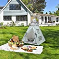 Teepee Tent for Kids Teepee Play Tent Mat for Boys Indoor Outdoor Play House Tent Indian Canvas Tipi Tent Wigwam Children Navy Chevron Tee Pee …