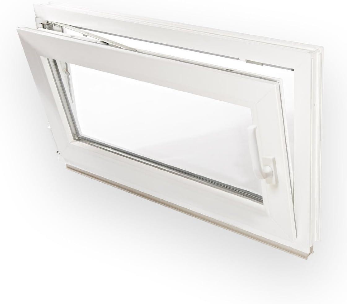 schneller Versand verschiedene Ma/ße 60mm Profil Fenster Kellerfenster Milchglas Kunststoff DIN links wei/ß 2-fach-Verglasung 80x50 cm
