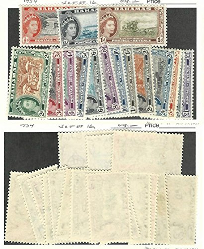 British Postage Stamps - Bahamas, British, Postage Stamp, 158-173 Mint Hinged Set, 1954