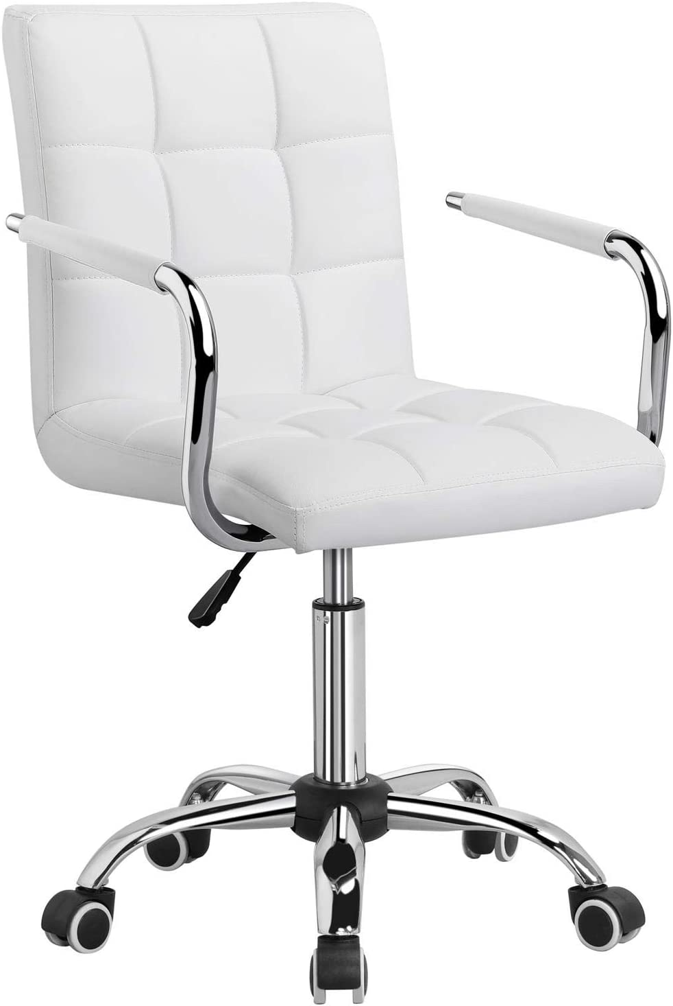 Yaheetech White Office Chair/Desk Chair With wheels Swivel Stool Chair for Desk Comfy Home Office Computer Desk Chair Modern Adjustable Leather Executive Chair with Armrest