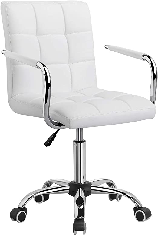 Amazon Com Yaheetech White Office Chair Desk Chair With Wheels Swivel Stool Chair For Desk Comfy Home Office Computer Desk Chair Modern Adjustable Leather Executive Chair With Armrest Kitchen Dining