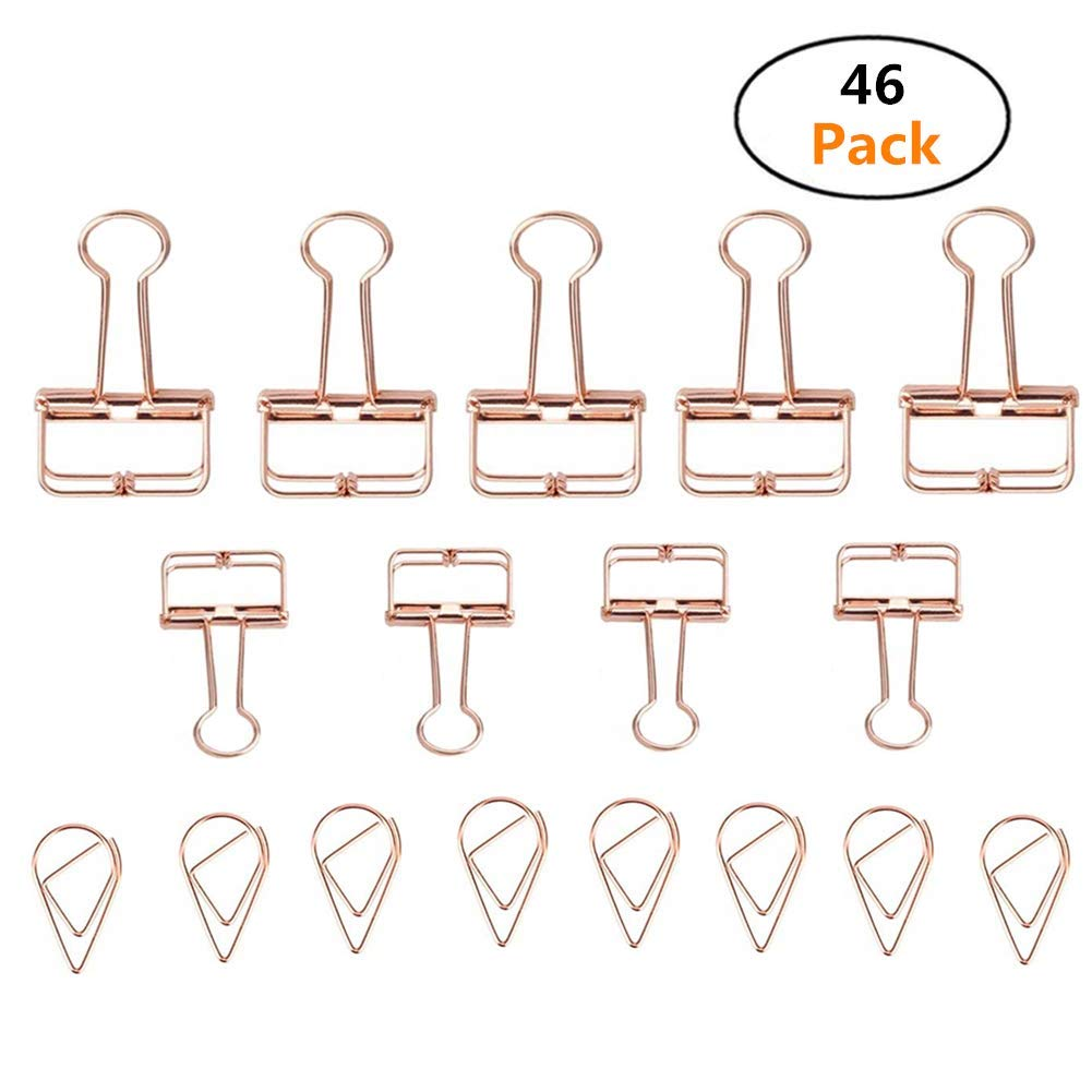 TianJi 16 Pcs Skeleton Binder Clips and 30 Pcs Paper Clips, Assorted Size Rose Gold Clips Smooth Hollow Photo Clips for Office Paper Document Organizing