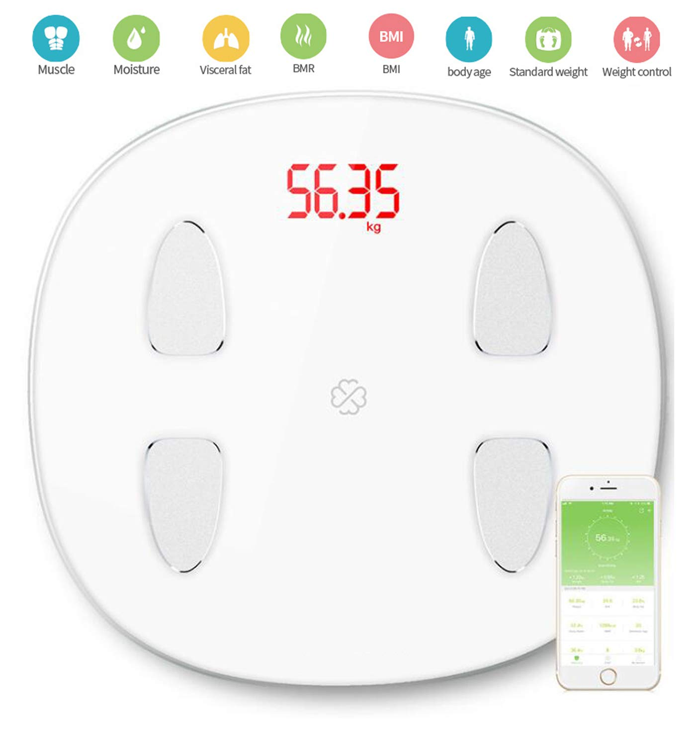 Smart Body Fat Scale Bluetooth Digital Bathroom Scales Wireless Weight Scale Analysis of 14 Body Composition Data,BMI Scale Body Composition Monitor,White