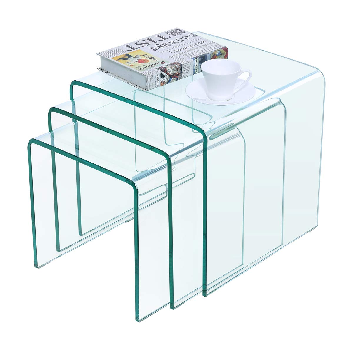 Framodo Bent Glass Coffee Table Set Of 3 Pcs Stacking Nesting End Side Tables Set Living Room Clear Tempered Glass Amazon In Home Kitchen [ 1191 x 1200 Pixel ]