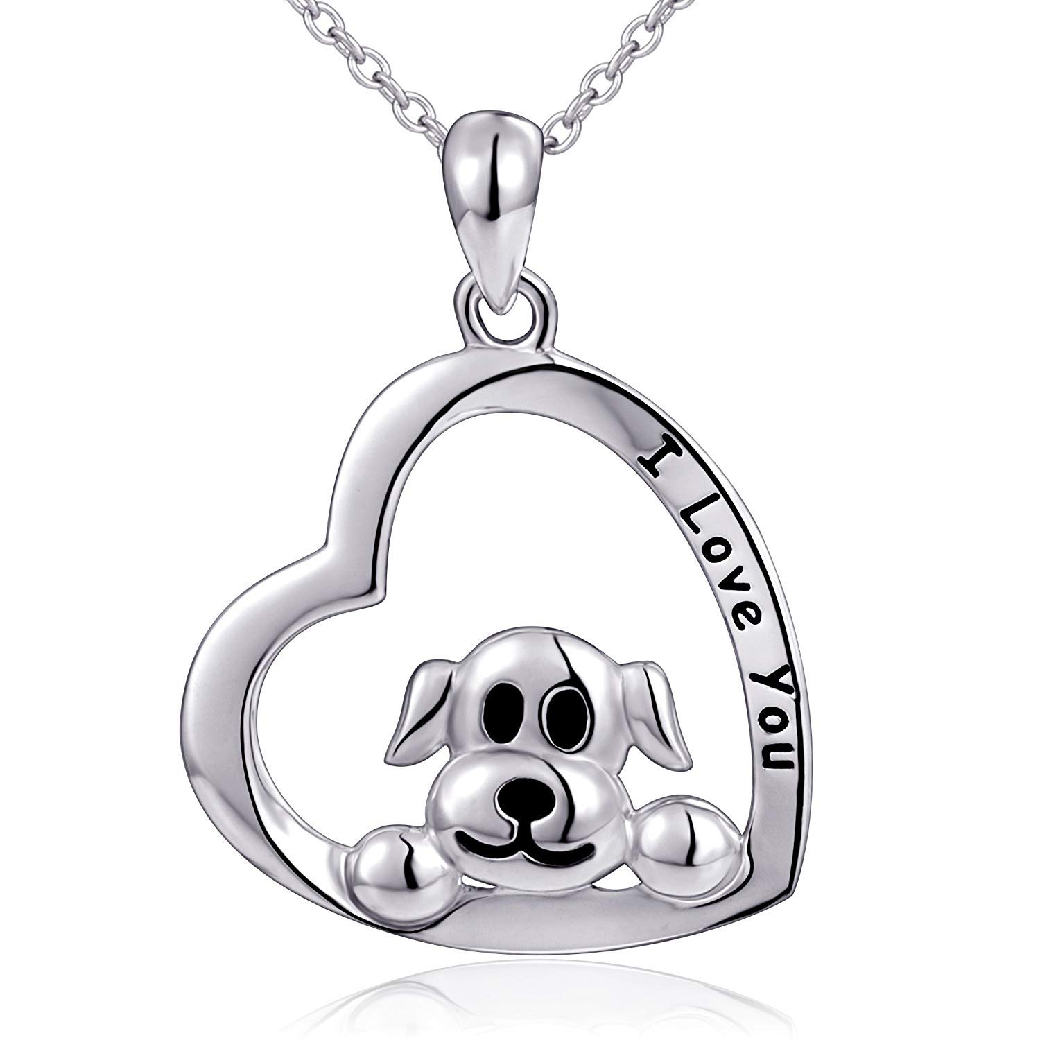 18 Mom Gifts 925 Sterling Silver I Love You Heart Dog Pendant Necklace for Women