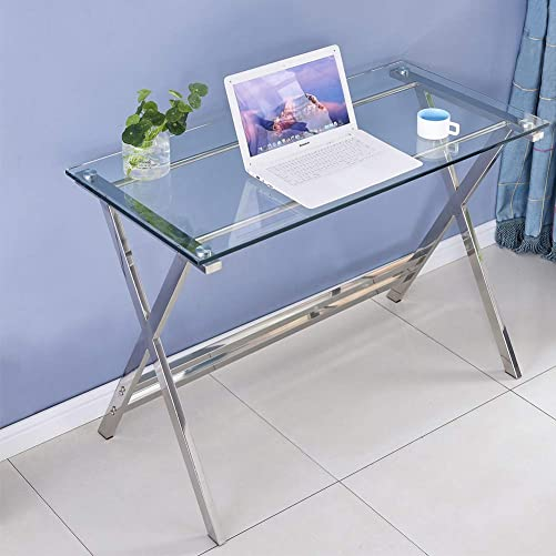 Modern Computer Desk Tempered Glass Small Computer Table
