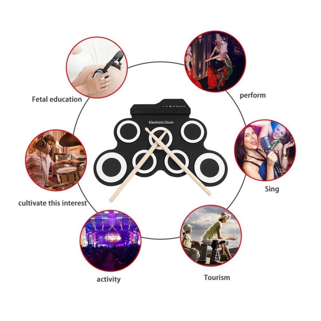 Laurelmartina Batería electrónica USB Drum G3002 Drum Kit Drum Set Instrumento de percusión para niños Engrosada de Silicona Plegable Roll-up: Amazon.es: ...
