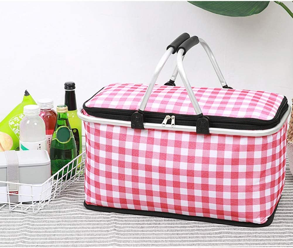 Portable Picnic Basket di Grande capienza 29L Fresh Food Pranzo Carrello Outdoor Dinner Carrello per Outdoor Picnic, Campeggio, Escursionismo. (Colore : Purple) Red