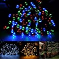 72ft/22m 200 LED Solar Fairy String Lights for Outdoor, Gardens, Homes, Christmas Party, Pure white and Warm White