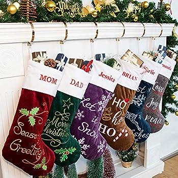 Custom Christmas Stockings.Amazon Com 18 Personalized Christmas Stocking Home Kitchen