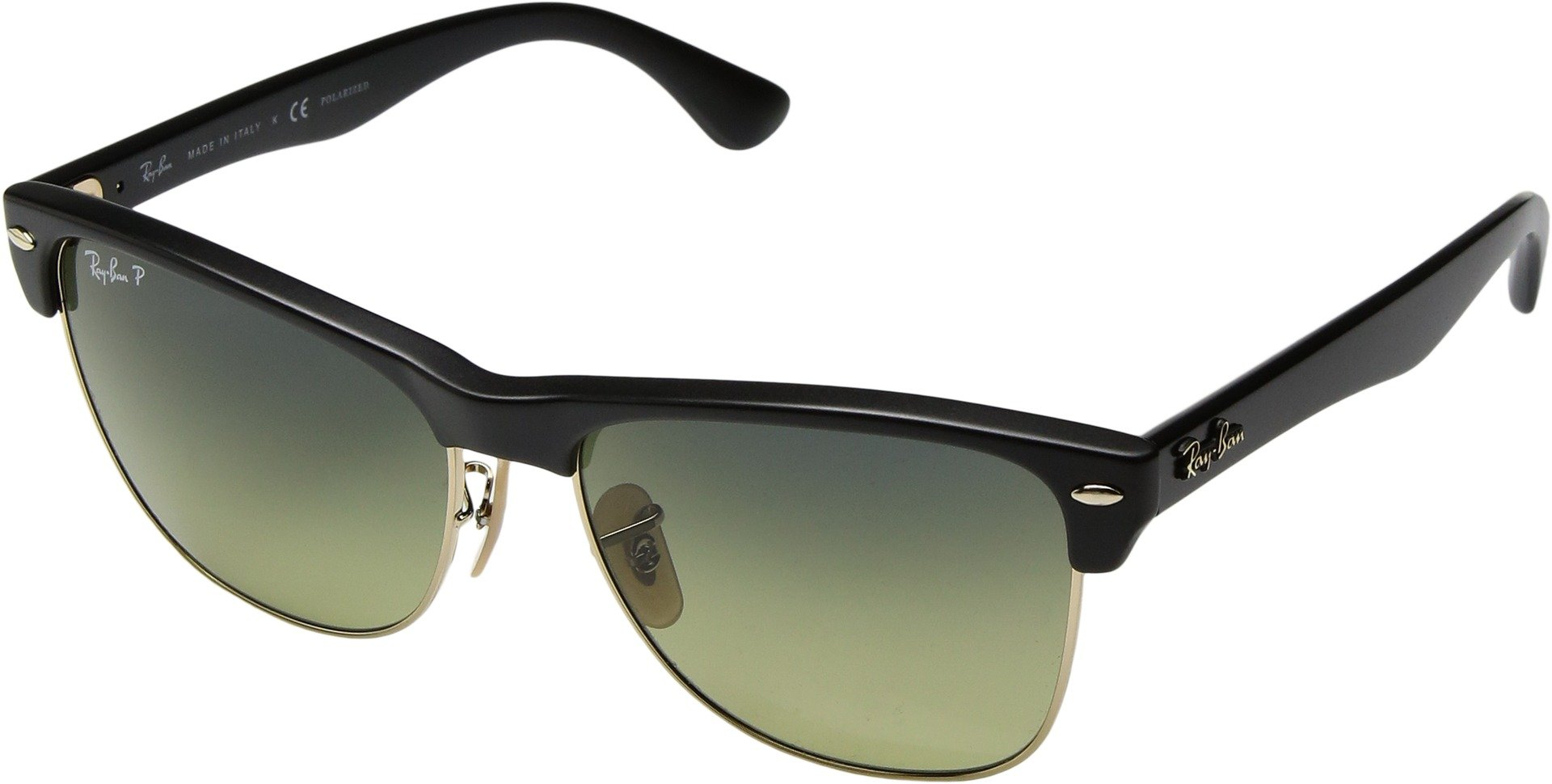 Ray-Ban Unisex RB4175 Oversized Clubmaster 57mm Black/Polarized Blue Green Gradient Sunglasses by Ray-Ban