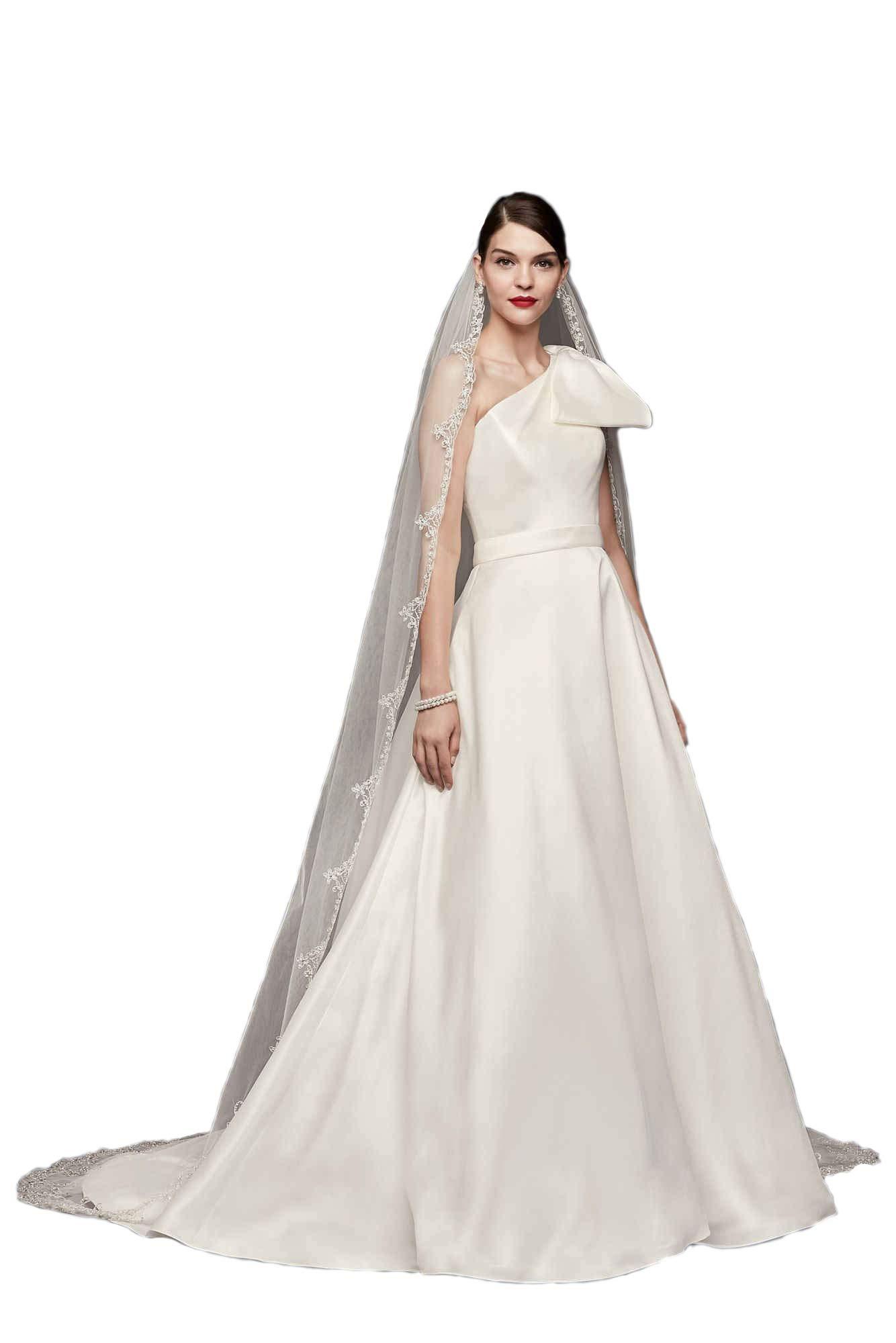 Passat Pale Ivory Single-Tier 3M Cathedral Filigree Metallic Embroider ybeaded edge wedding veil DB65
