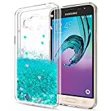 Galaxy J3 V / J3V Case,Galaxy Sky / Amp Prime / Express Prime / J3 (2016) 6 / Sol Liquid Case with HD Screen Protector,LeYi Girls Shiny Glitter Clear TPU Protective Case for Samsung J3 ZX Turquoise