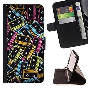 BullDog Case - FOR/HTC One M9 / - / cassette tapes neon colorful 90s music art /- Monedero de cuero de la PU Llevar cubierta de la caja con el ID Credit Card Slots Flip funda de cuer