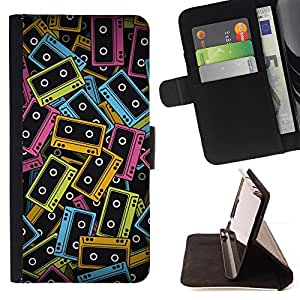 - 90S MUSIC CASSETTE ART COLORFUL NEON TAPES - - Prima caja de la PU billetera de cuero con ranuras para tarjetas, efectivo desmontable correa para l Funny HouseFOR Apple Iphone 5C