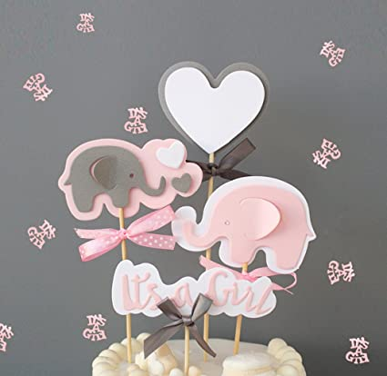 Marvelous Pink Elephant Cake Topper Its A Girl Heart Pink Confetti Pink Birthday Cards Printable Trancafe Filternl