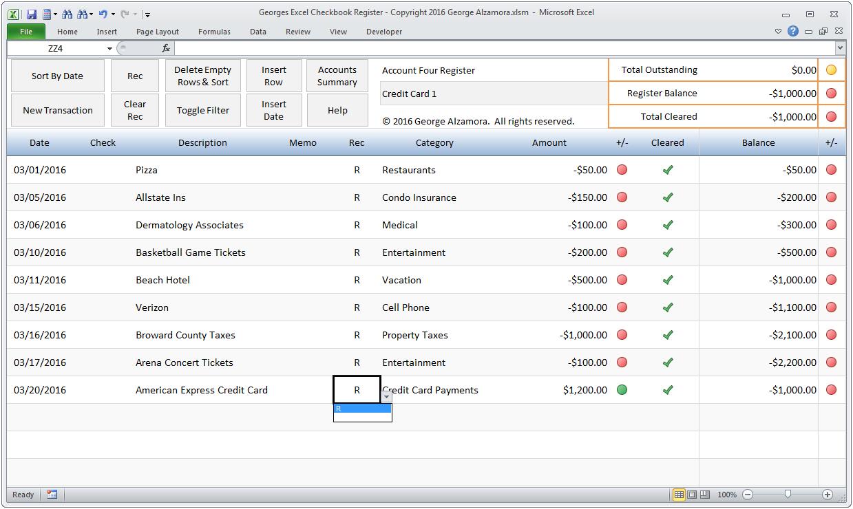 Uncategorized Check Register Worksheet amazon com georges excel checkbook register v3 software for template spreadsheet checking accounts a