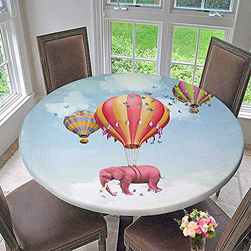 Mikihome Round Premium Table Cloth Pink in The Sky with Balloons Daydream Fairytale Travel Perfect for Indoor, Outdoor 47.5