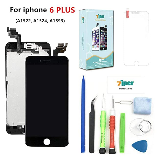 more photos 2f9cc 00c3d Screen Replacement for iPhone 6 Plus (5.5') - LCD Display Touch Digitizer  Frame Assembly Set with Proximity Sensor, Front Camera, Earpiece, Tempered  ...